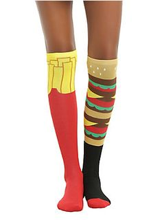Cheeseburger + fries = These knee hi's // Loungefly Cheeseburger Fries Knee High Socks