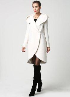 Blanco abrigo abrigo capa capa con capucha abrigo abrigo