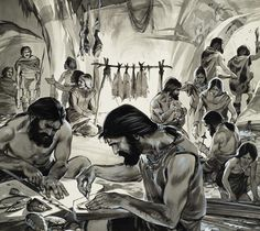 Mankind in the Making, the 'Ice-Age' (gouache on paper) Posters & Prints by Angus McBride