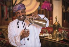 Embrace the Omani culture by serving Omani coffee with dates at home. The coffee man at Al Bustan Palace, a Ritz-Carlton Hotel suggests to serve the coffee in small cups and serving with dates which help offset the bitter taste.