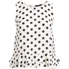c045a5088085d Zenobia Black   White Dot Ruffle Swing Tank - Plus