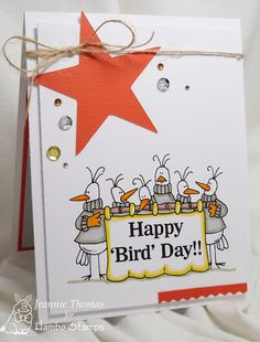 Hambo Stamps Digital Image - Happy Bird Day, Card Created by Jeannie Thomas of Dragonfly Journeys.