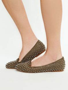 Spiked, Leather, Flat, Loafer, Chic, Rubber Sole, Taupe Green, by Jeffrey Campbell, @Freepeople