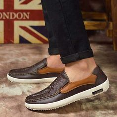 Brown crocodile skin retro leather slip on shoe loafer | Mens shoes online 1229MS