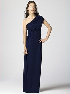 Dessy Collection Style 2858. One shoulder full length lux chiffon gown with draped shoulder and bodice.