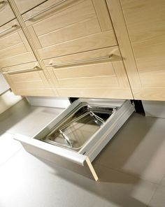 Hardware and pulls: This drawer, by Seva Kitchens, has a particularly nice hidden, integrated pull, as well as a touch-latch mechanism that opens with a slight kick of the foot.