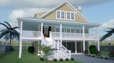 Plan This elevated home is great for the beach. And has an elevator serving ground to second floors! Beach Cottage Style, Beach Cottage Decor, Coastal Cottage, Coastal Homes, Coastal Decor, Beach Homes, Coastal Living, Coastal Curtains, Coastal Entryway