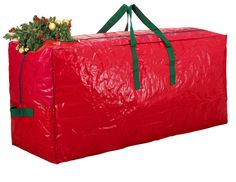 Zober Christmas Tree Bag - Artificial Christmas Tree Storage for Un-Assembled Trees up to 7' Tall with Sleek Zipper - Also Accommodates Holiday Inflatables | 48 x 15 x 20 (Red)