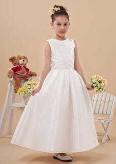 2015 Appliques Straps Ivory Zipper Satin Ruched Sleeveless Tea Length Ball Gown Flower Girl Dresses FGD