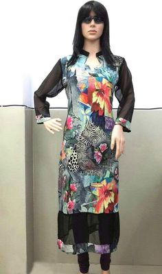 Appear stunningly desirable in such a black faux georgette ready made kurti. The enticing block print work a significant feature of this attire. #SexyBlackShadesOfKurti