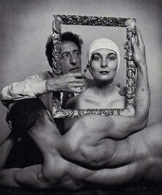 Jean Cocteau, with ballerina Ricki Soma (Anjelica Huston's mother) and dancer Leo Coleman, Photo by Philippe Halsman for LIFE. Man Ray, William Eggleston, Salvador Dali, Clint Eastwood, Milly La Foret, Philippe Halsman, Anjelica Huston, Jean Cocteau, Cinema