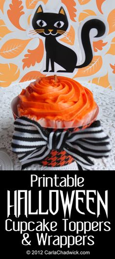Printable Year-Round Cupcake Toppers and Wrappers Halloween Fonts, Halloween Goodies, Holidays Halloween, Halloween Treats, Halloween Diy, Happy Halloween, Halloween Decorations, Spooky Treats, Fall Crafts