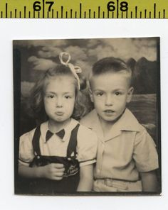 Vintage 1950's PHOTOBOOTH photo / Boy's Sister Makes Pouty Face for Candy BOOTH