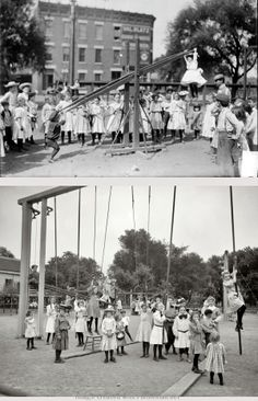 """SCHOOL, Playground: A """"hanging"""" See Saw and Climbing Ropes in a Chicago elementary school yard. 1905"""