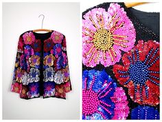 RARE Multicolored Beaded Sequined Jacket / Bright Floral by braxae