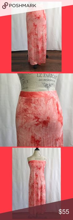 Michael Kors Tie Dye Maxi Skirt Excellent used condition! Orange and white tie dye Maxi skirt. Material is super soft Rayon. I also wore as a tube style dress. I'm small and short tho! Michael Kors Skirts Maxi