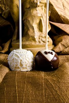 "rehearsal dinner cake pops.  love the ""lace!"""