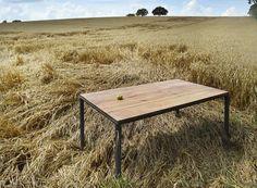Esstische - Tisch Bauholz/Eisen Maaike Grau Pulverbeschichtet - ein Designerstück von FraaiBerlin bei DaWanda