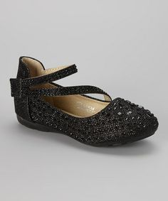 This Black Beaded Ankle-Strap Flat is perfect! #zulilyfinds