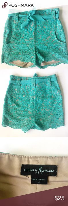 Guess by Marciano Shorts Green lace shorts with ribbon front tie Guess by Marciano Shorts