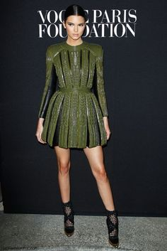 Kendall Jenner in Balmain dress at the Vogue Foundation Gala during 2014 Haute Couture Fashion Week.