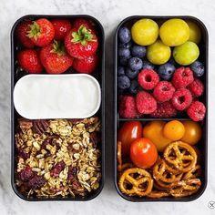 Snack Bento how cute is the amazing bento made by the talented Marieke aka @_food_enthusiast_ This bento is definitely the best snack ever ! Fruit and muesli @pastryandtravel