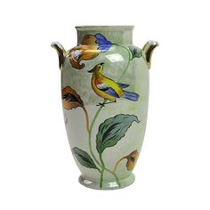 This antique Art Nouveau Noritake baluster shaped vase shows gorgeous, bright shades of brilliant yellow, orange, blue and green with a luster