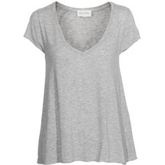 AMERICAN VINTAGE Jacksonville Short Heather Grey Burn-out v-neck... ($62) ❤ liked on Polyvore featuring tops, t-shirts, shirts, blusas, slim fit v neck t shirt, cotton shirts, heather grey t shirt, summer shirts and cotton v neck t shirts