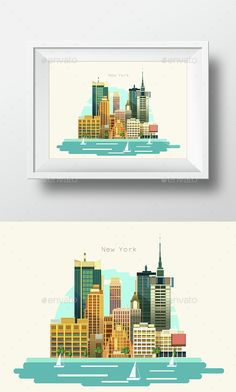 City Flat Skyline Modern Art Design Illustration