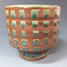 Pottery Tumbler / Yunomi with Green Checker by RonPhilbeckPottery