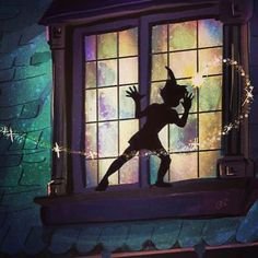 Peter Pan and Tinker Bell at Wendy's window