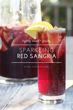 Deliciously fruity, this Sparkling Red Wine Sangria is so easy to make and even easier to relax and enjoy. Go ahead, picture yourself with a chilled pitcher of fresh fruit swirled with a citrusy, red wine. This make ahead sangria recipe is perfect for bac Sangria Drink, Berry Sangria, Red Wine Sangria, Apple Sangria, Summer Sangria, Sangria Pitcher, Cocktail Drinks, Red Wine Spritzer, Skinny Sangria