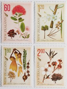 New Zealand Post Issue Botanical Illustration, Postage Stamps, New Zealand, Nativity, Embellishments, Coins, Ornaments, Coining, Rooms