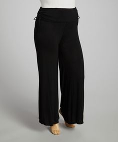 Look at this #zulilyfind! Black Side-Tie Palazzo Pants - Plus by Reborn Collection #zulilyfinds