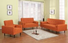 AH18 Orange Fabric retro-style sofa set by At Home USA : Fabric Sofas at comfyclassica.com furniture store