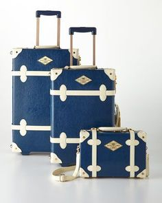 Blue+Entrepreneur+Luggage+at+Horchow. I love this set! Hard plastic, durable, with combination locks... If only it had 4 wheels