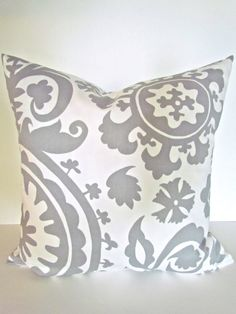 THROW PILLOW GREY 12x16 Suzanni Decorative by SayItWithPillows, $12.95