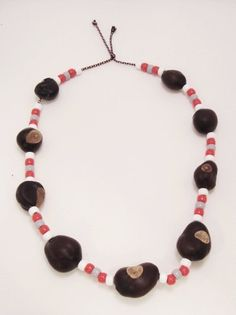 Ohio State 'Buckeye' Necklace Cardboard Heroes. $9.95. Plastic Beads and Multi-colored String. Handmade with Real Buckeyes