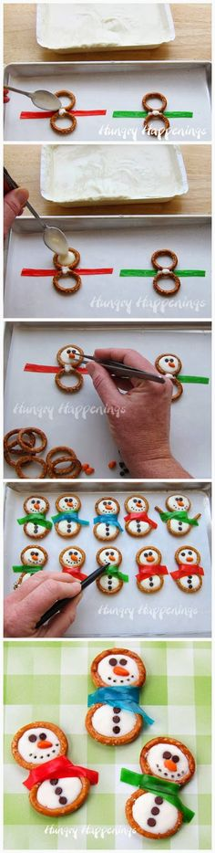 Frosty Snowman Pretzels-pretzel rings (I found these round pretzels at Aldi) white confectionery coating (CandiQuik*) Fruit Roll-Ups mini chocolate chips orange candy coated sunflower seeds or other small orange candy, black food color pen.