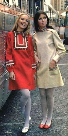 Circa 1967 my gran made me a number of this Russian style dress and I had one very expensive store bought one. LOVED them! Most of them had the trim go around the neck and down one side and also around the cuffs.