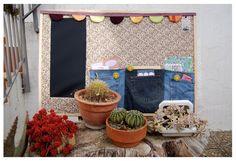 Reciclatge de suro, amb tela de pissarra i butxaques de texans vells. by Tati Ayala