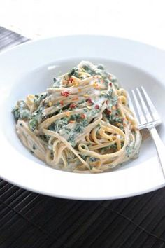 skinny spinach fettuccine alfredo recipe.  tastes bad-for-you but it's not!