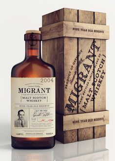 30 Unique Packaging and Label Designs for Whisky Bottles Wood Packaging, Beverage Packaging, Bottle Packaging, Brand Packaging, Design Packaging, Scotch Whisky, Bourbon Beer, Liqueur, Liquor Bottles