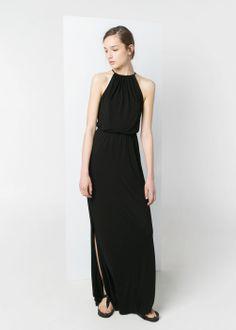 Minimal + Classic: black halter dress / Mango
