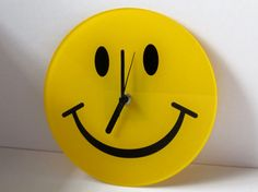 Happy Face Clock Quartz Wall Clock Yellow Smiley by Trinkets4Muses, $19.00