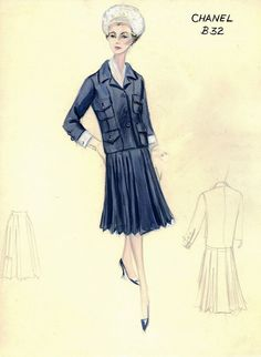 47ebe847f2ad 1960s - Chanel suit for Bergdorf Goodman sketch Vintage Fashion Sketches