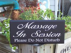 Massage In Session Please Do Not Disturb Wood Vinyl Sign - Massage Spa Salon Sign Door Hanger Business Retail Store Shop
