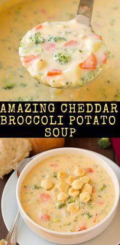 Amazing Cheddar Broccoli Potato Soup - Recipes For Dinner Cheddar Broccoli Potato Soup, Cheddar Potatoes, Queso Cheddar, Chicken Broccoli Soup, Chicken Potato Soup, Ham And Potato Soup, Healthy Recipes, Gourmet Recipes, Vegetarian Recipes