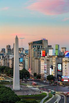 Pastel skies over the obelisk (Obelisco de Buenos Aires) along 9 de Julio Avenue in Buenos Aires, Argentina.