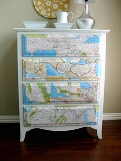 diy home decor ideas | 25 DIY Interior Decorating Ideas To Use Maps | Shelterness - This one would be really awesome for our non-existent son and cover with weather maps!